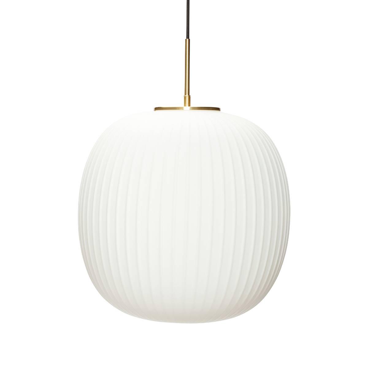 Taklampe i hvit glass stor - Hübsch